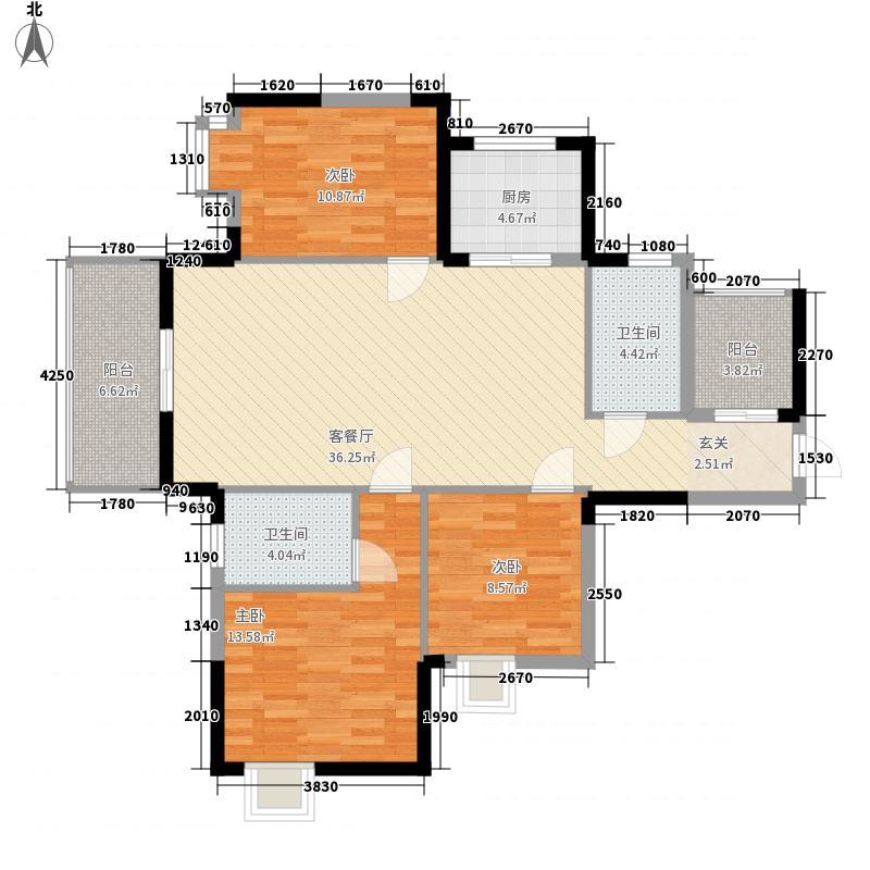 中国铁建・荷塘星城3室1厅2卫1厨130.00㎡户型图