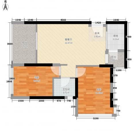 招商城市主场2室1厅1卫1厨79.00㎡户型图