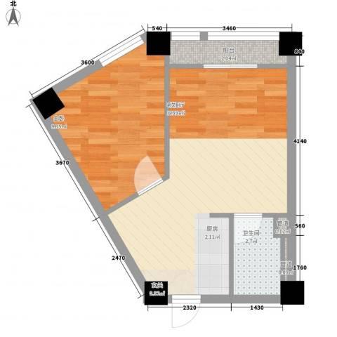 威尼水岸1室1厅1卫0厨50.00㎡户型图