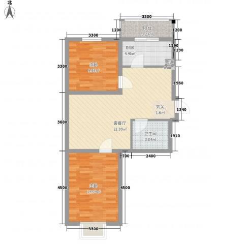 九九添伍兰庭2室1厅1卫1厨83.00㎡户型图