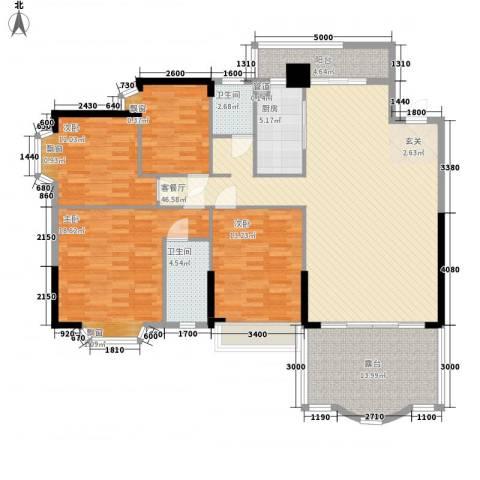汇景中央4室1厅2卫1厨136.00㎡户型图