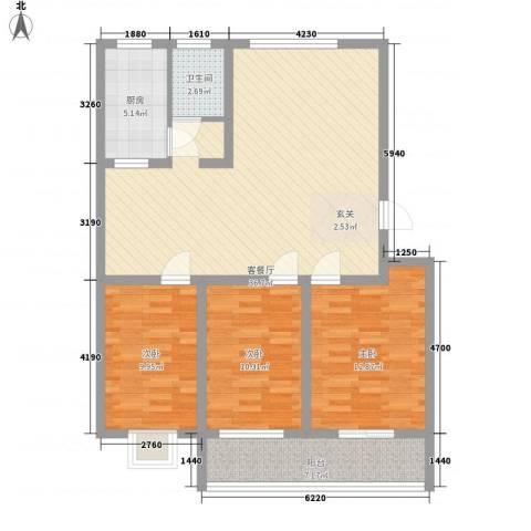 永安花园3室1厅1卫1厨122.00㎡户型图