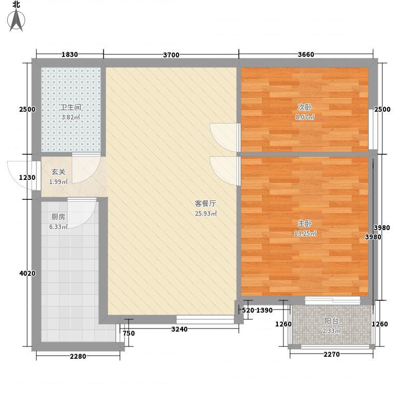 保利泉馨苑84.00㎡P户型2室2厅1卫1厨