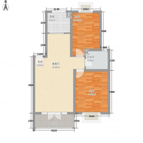 金座嘉园2室1厅1卫1厨98.00㎡户型图