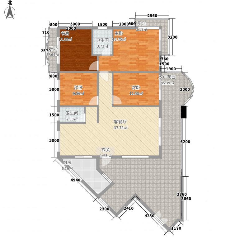 塞纳维拉花园160.60㎡J1标准层01号房户型4室2厅2卫1厨