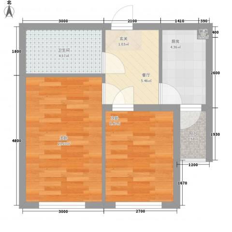 勋望社区2室1厅1卫1厨108.00㎡户型图