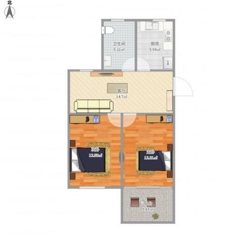 静安新城十一区61--2112室1厅1卫1厨76.00㎡户型图