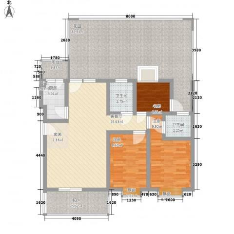 碧海乾图花园3室1厅2卫1厨137.00㎡户型图