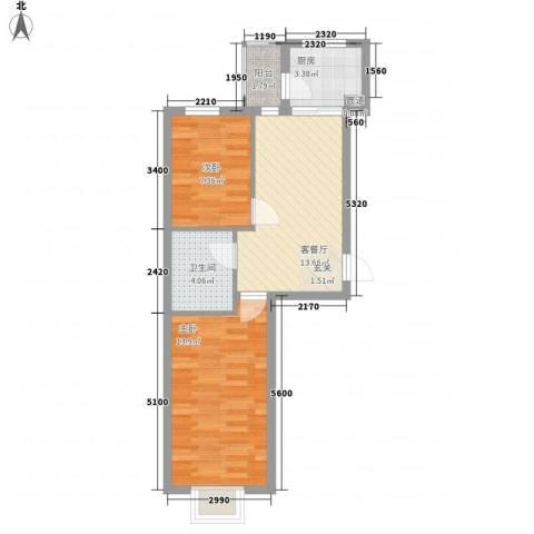 嘉和苑2室1厅1卫1厨75.00㎡户型图