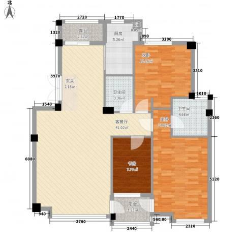 华夏海景3室1厅2卫1厨137.00㎡户型图