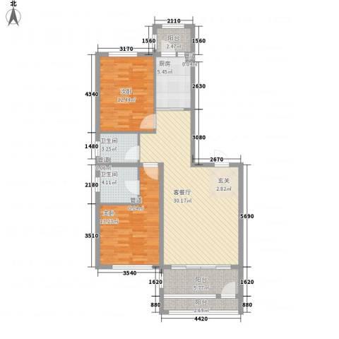 萧乡明珠2室1厅2卫1厨115.00㎡户型图
