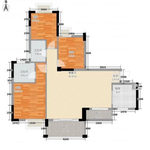 金湖花园3室1厅2卫1厨131.00㎡户型图