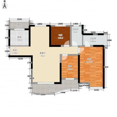 同人・怡和园3室1厅2卫1厨136.00㎡户型图