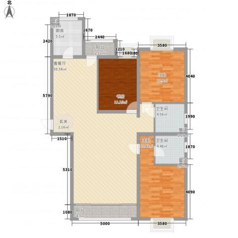 绿海印象3室1厅2卫1厨127.00㎡户型图