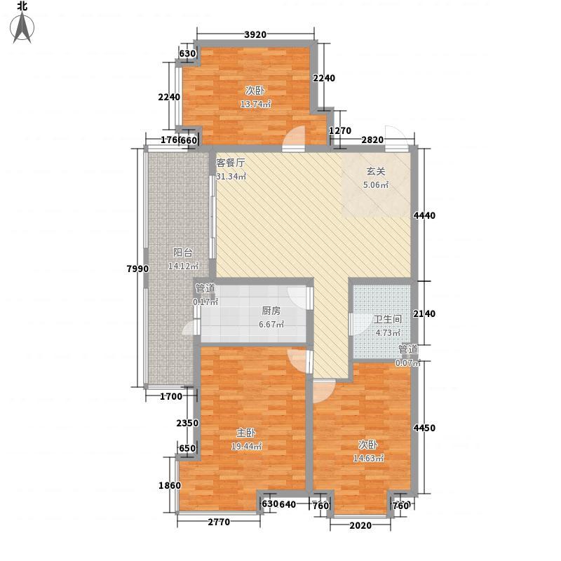 爱建滨江紫园147.10㎡F户型3室2厅1卫1厨