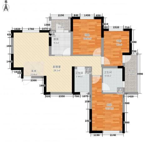 美景花园3室0厅2卫1厨116.00㎡户型图