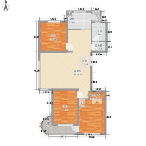 腾龙雅苑3室2厅1卫1厨137.00㎡户型图