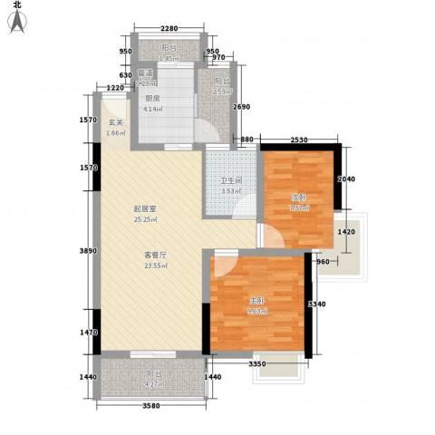 颐和人家2室0厅1卫1厨86.00㎡户型图