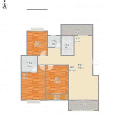 香榭丽都3室1厅2卫1厨145.00㎡户型图