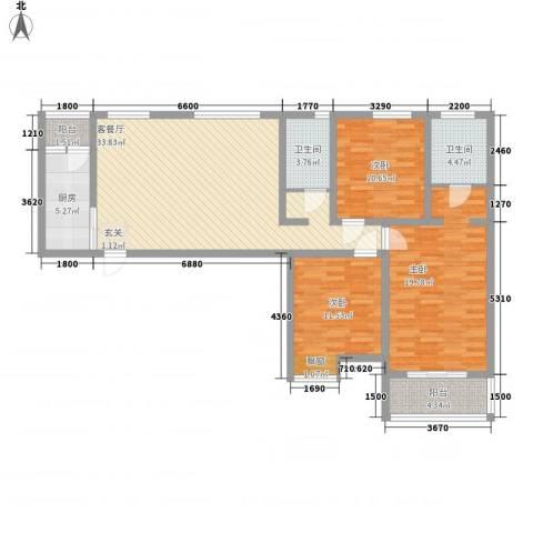 新开苑3室1厅2卫1厨137.00㎡户型图