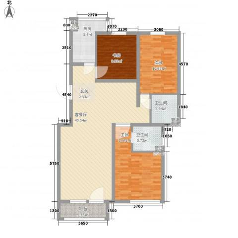 昌明伴山苑3室1厅2卫1厨108.00㎡户型图