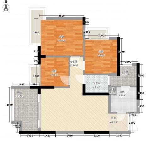 融汇温泉城锦华里3室1厅1卫1厨78.00㎡户型图