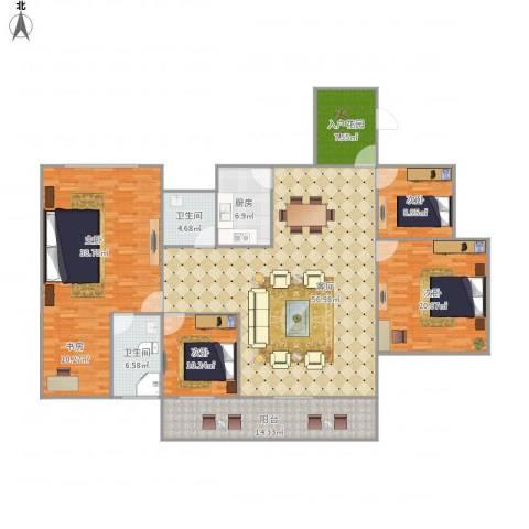 (龙华新区)星河丹堤F区7120284室1厅2卫1厨232.00㎡户型图