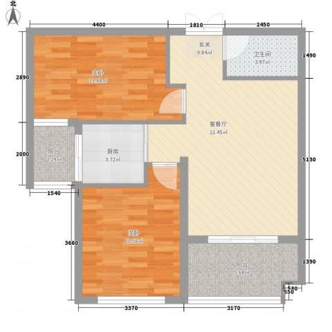 金邸山庄2室1厅1卫1厨85.00㎡户型图