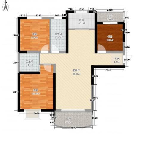 同人・怡和园3室1厅2卫1厨122.00㎡户型图