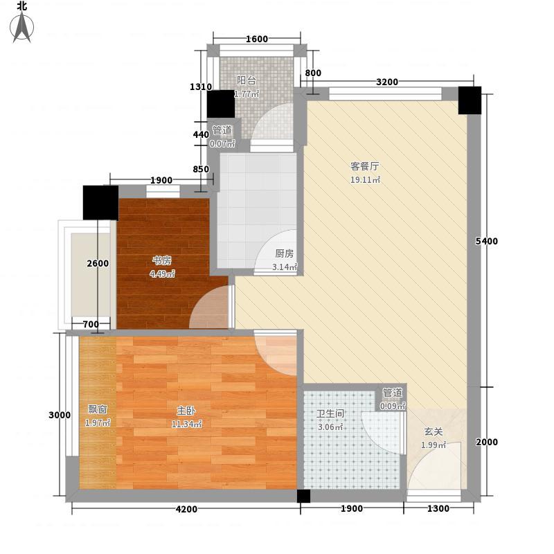 泉舜泉水湾62.60㎡1#楼5层A单元户型2室1厅1卫1厨