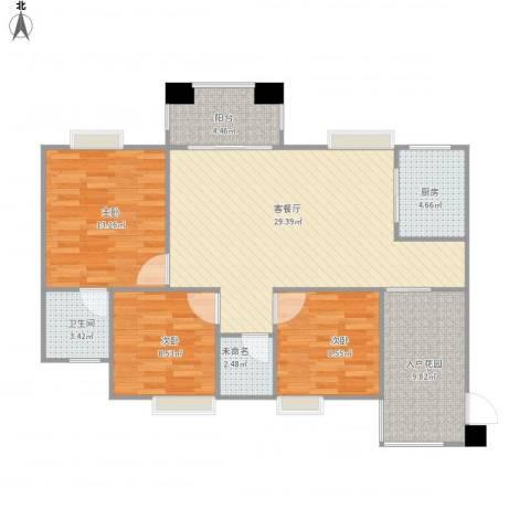 绿湖爱伦堡3室1厅1卫1厨115.00㎡户型图