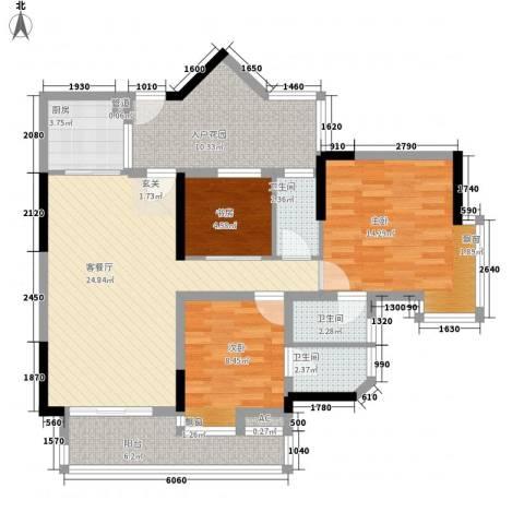明日华府3室1厅3卫1厨117.00㎡户型图