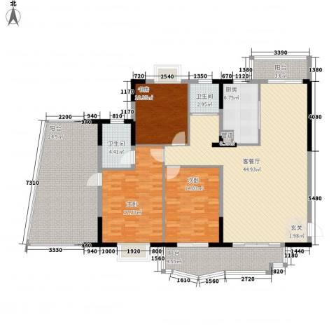 金座嘉园3室1厅2卫1厨154.00㎡户型图