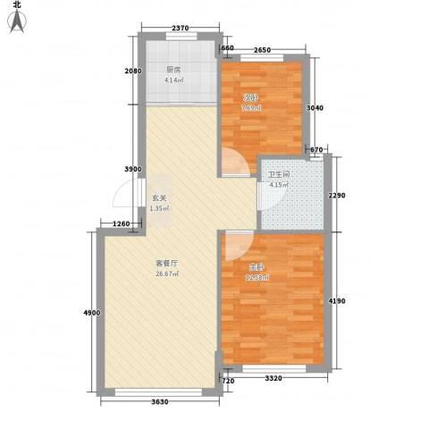 自由向2室1厅1卫1厨77.00㎡户型图