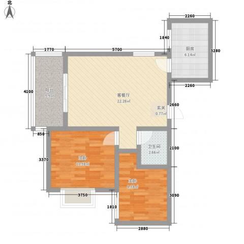 百合花园二期2室1厅1卫1厨82.00㎡户型图