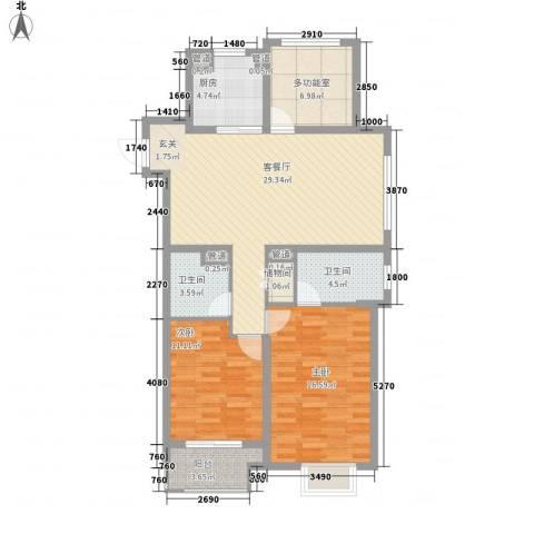 万科城2室1厅2卫1厨118.00㎡户型图
