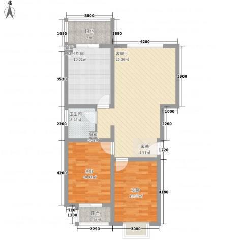 柳岸新居2室1厅1卫1厨98.00㎡户型图