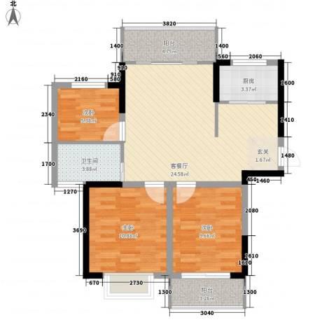 同人・怡和园3室1厅1卫1厨94.00㎡户型图