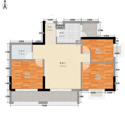 东江花苑3室1厅1卫1厨101.00㎡户型图