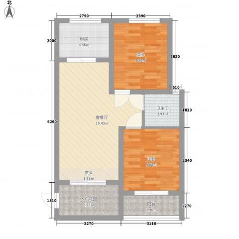 金鼎旺座2室1厅1卫1厨78.00㎡户型图