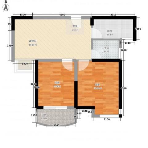 同人・怡和园2室1厅1卫1厨73.00㎡户型图