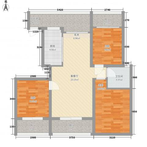 金鼎旺座3室1厅1卫1厨112.00㎡户型图