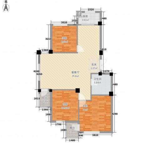华夏海景3室1厅1卫1厨115.00㎡户型图