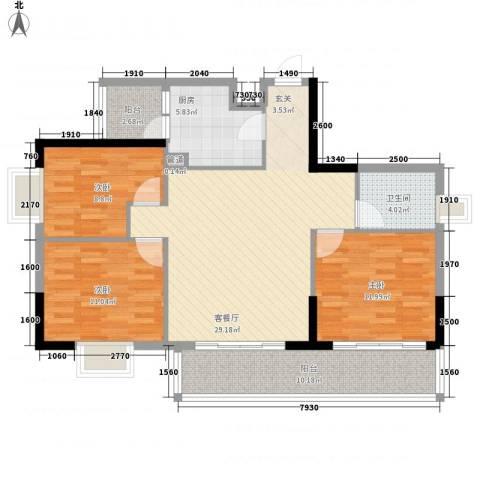 东江花苑3室1厅1卫1厨119.00㎡户型图
