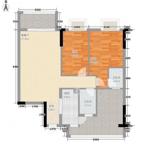 东江花苑2室1厅2卫1厨105.00㎡户型图