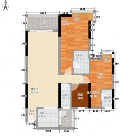 明日华府3室1厅3卫1厨120.00㎡户型图
