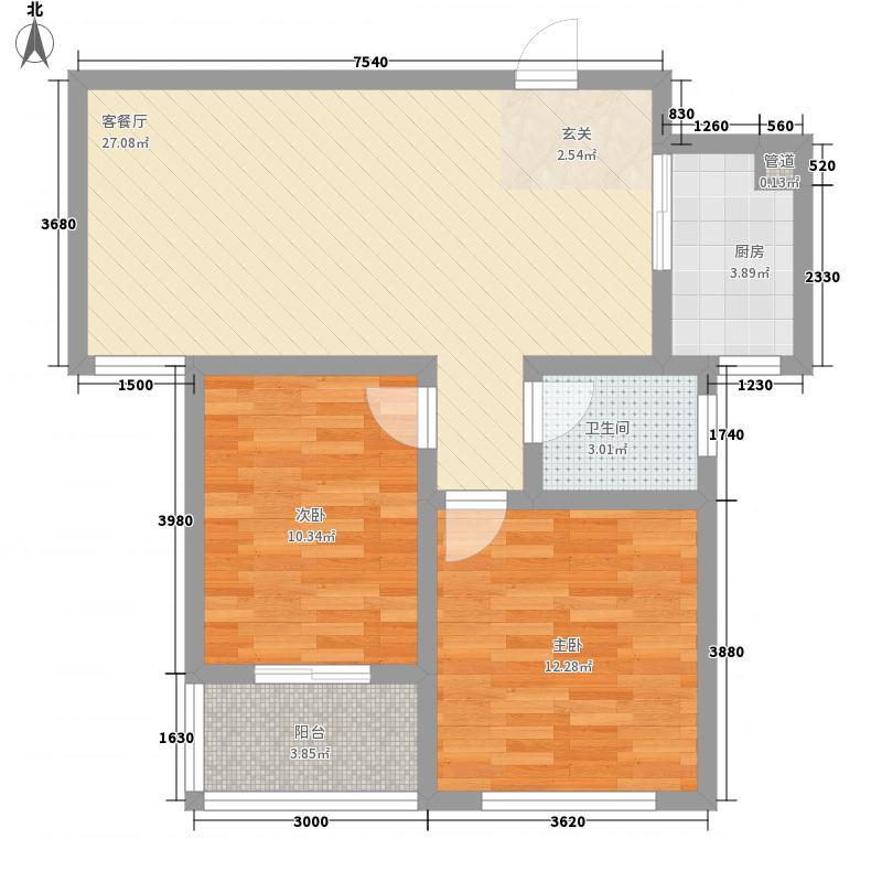 恒盛都市豪庭8.00㎡三期19号楼标准层b-7户型2室2厅1卫1厨