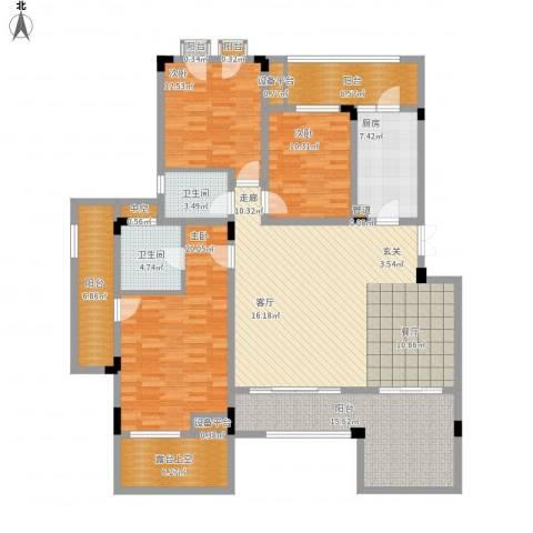 广厦城洛卡庄园3室1厅2卫1厨198.00㎡户型图