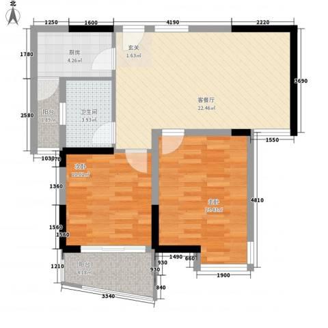 同人・怡和园2室1厅1卫1厨86.00㎡户型图