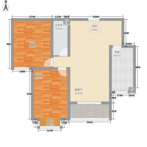和信花园2室1厅1卫1厨115.00㎡户型图